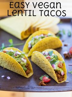 Seasoned lentils and bulgur stand in for taco meat in these easy vegan tacos! Perfect for meatless Monday and taco Tuesday!