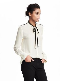 Tie Bow Blouse / fall fashion / women's fashion / fall looks / women's clothing / white and black top / long sleeve top / business casual / #ad