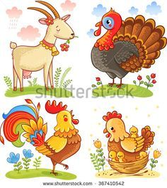 Farm animal collection set. Vector illustration with cute cartoon goat, turkey, rooster, chicken. - stock vector
