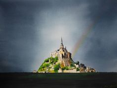 Mont saint Michel et son arc en ciel