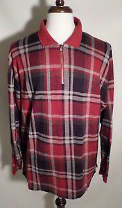 Mens Size XL Eddie Bauer Long Sleeve Polo Shirt, Red Plaid, Soft 100% Cotton