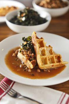 The Chubby Vegetarian: A Really Good Pot of Black-Eyed Peas + Cornbread Waffles & Collard Greens