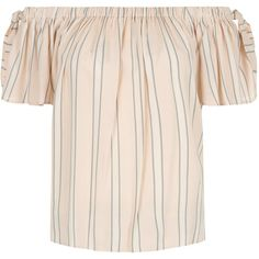 New Look Pink Stripe Bardot Neck Tie Sleeve Top ($11) ❤ liked on Polyvore featuring tops, pink pattern, striped necktie, striped neck ties, tie neck tie, sleeve top and evening wear tops