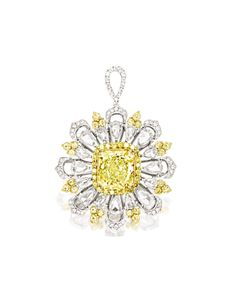 FANCY INTENSE YELLOW DIAMOND AND DIAMOND PENDANT. Centring on a cut-cornered square modified brilliant-cut fancy vivid yellow diamond weighing 7.03 carats, surrounded by pear-shaped rose-cut diamonds, decorated by brilliant-cut diamonds and yellow diamonds, the diamonds and yellow diamonds together weighing approximately 4.40 carats, mounted in 18 karat yellow and white gold.