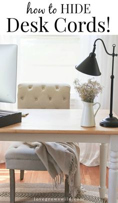 Create a cord-free home office by stapling your lamp cord underneath your desk.