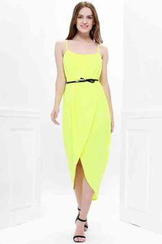 e77ba3ae1e21b44 Женское платье на бретельках с разрезом без рукавов - Жёлтый S #платье# желтое#