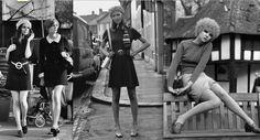 """Fue así como nacieron las chicas a-gogo de los 60 que llevaban minivestidos con corte en """"A"""" con anchos cintos y sin mangas o las minifaldas estilo colegial con tablones, todas en telas muy estructuradas y rígidas en materiales como la terlenka, muy popular en aquellas épocas."""
