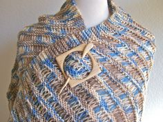 I just listed Blue and Brown Hand Knitted Shawl  on The CraftStar @TheCraftStar #uniquegifts