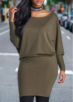 Batwing Sleeve Army Green Blouson Mini Dress on sale only US$28.27 now, buy cheap Batwing Sleeve Army Green Blouson Mini Dress at lulugal.com