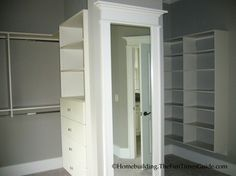 Master Closet Idea: the mirror could be on hinges and then hide a safe in the middle area!