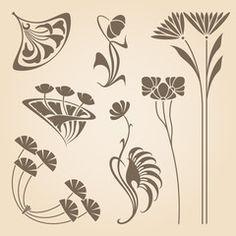 Vector art nouveau elements.