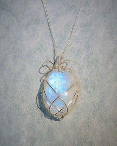 Moonstone Silver Wire Pendant by RavensJewelryArt on Etsy
