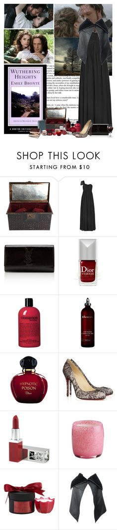 """""""Wuthering Heights"""" by iolandaa ❤ liked on Polyvore featuring BRONTE, Notte by Marchesa, Yves Saint Laurent, Christian Dior, philosophy, Elemis, Christian Louboutin, Pier 1 Imports, D.L. & Co. and GUESS"""