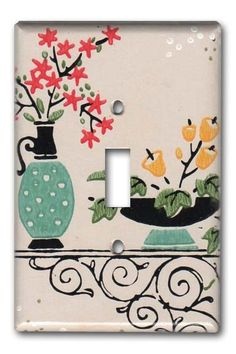 Switch plate covered in vintage wallpaper #Fondue Vintage Homewares