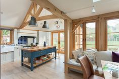 L-shaped kitchen diner extension in oak frame extension If you love period properties and open plan living, be inspired to live life to the full – these homes offer the best of both worlds Open Plan Kitchen Dining Living, Open Plan Kitchen Diner, Barn Kitchen, Open Plan Living, Living Room Kitchen, Country Kitchen, L Shaped Kitchen Extension, Kitchen Extension Open Plan, House Extension Design