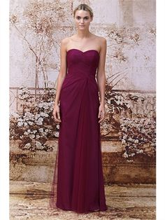 2014 Column Floor-Length Sweetheart Pleats Tulle Bridesmaid Dresses ABM12020