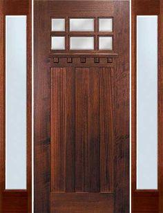 ENTRY DOOR  GC-CMBBVIG1 Craftsman 6-Lite Front Door with Sidelites and Dentil Shelf