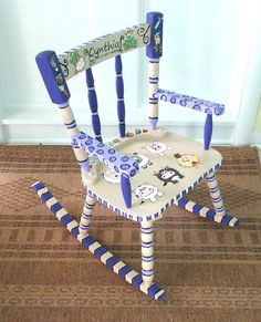 Painted Child Rocking Chair Painted Custom Made by WhimsyBurd, $150.00