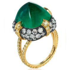 ExceptionalDesigns , a sugarloaf cabochon emerald ring, with white diamonds set in black and yellow gold. #baycojewels #bayco #cabochons #emerald #hautejoiallerie