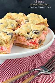 These Cherry Chocolate Chip Cheesecake Bars have a vanilla cookie crust and a…