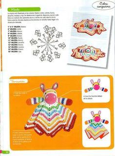 "Photo from album ""Crochet mantas de apego on Yandex. Crochet Mouse, Crochet Dolls, Crochet Baby, Knit Crochet, Crochet Security Blanket, Crochet Ripple Blanket, Baby Staff, Crochet Rug Patterns, Baby Lovey"