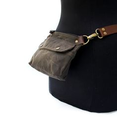 Hip Pouch Fanny Pack Brown Waxed Canvas by piprobins on Etsy
