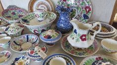 Great Christmas ideas shop now on line Antique COUNTRY SPONGE WARE CHINA 19C.