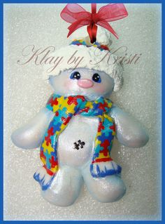 Autism Awareness Christmas Snowman Ornament with Puzzle Piece Scarf Great Teacher Gift