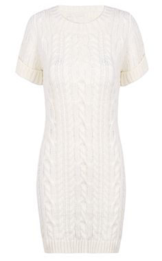 Beige Short Sleeve Cable Knit Sweater Dress