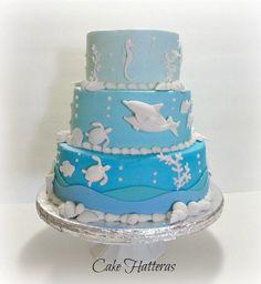 Ombre Beach Wedding Cake