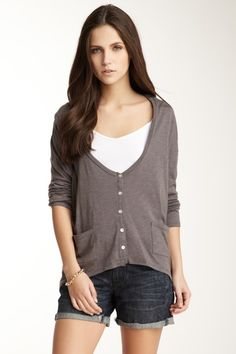 Light V-Neck Button Cardigan by Threads for Thought on @HauteLook