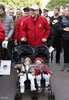 Prince Albert of Monaco with his twins Prince Jacques and Princess Gabriella Nov. 29, 2015