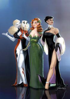 Gotham Villains Gala - The Sirens by jadenwithwings on DeviantArt Gotham Villains, Comic Villains, Batman Female Villains, Female Villain Costumes, Harley Quinn Cosplay, Joker And Harley Quinn, Dc Comics Art, Comics Girls, Gotham City
