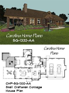 Small Economical 1332 Sf Craftsman Cottage House Plan With Open Floor Layout And Cathedral Great Room Ideal For Down Sizing