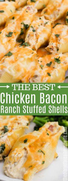 Chicken Stuffed Shells, Stuffed Shells Recipe, Stuffed Pasta Recipes, Jumbo Shells Stuffed, Jumbo Shell Recipes, Jumbo Pasta Shells, Easy Chicken Dinner Recipes, Cooking Recipes, Game Recipes