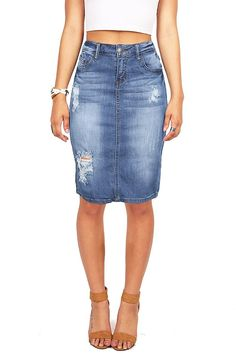 Machine by Pink Ice Jeans Juniors Distressed Denim Pencil Skirt >>> This is an Amazon Affiliate link. To view further for this item, visit the image link.