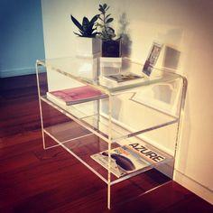 Clear acrylic desk table by #designtrasparente #console #table #tv #holder #desk #home #interiordesign #plexiglass #shopping #online #emuflagstore #rome