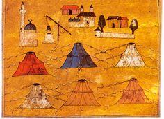 mid-16 c. Ottoman military tents. Illustration from Tarih-i Feth-i Siklos ve Estergon ve Ustunibelgira (detail).
