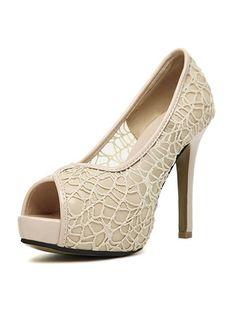 851aebdd33e1 Patchwork Stiletto Heel Mesh Hollow Open Toe Pumps   KissChic.com Stiletto  Heels