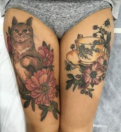 Image result for cat thigh tattoos #cattattoo