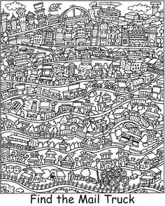 I always enjoy these. Can anyone find the Mail Truck in this image. Colouring Pages, Adult Coloring Pages, Coloring Books, Hidden Pictures Printables, Find The Hidden Objects, Hidden Picture Puzzles, I Spy Games, French Lessons, Spanish Lessons