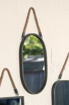 Oval Metal Framed Mirror with Rope Hanger