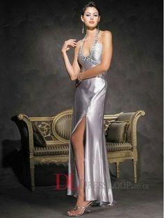 Column Halter Satin Ankle-Length Crystal Details Evening Dresses DLPD0207