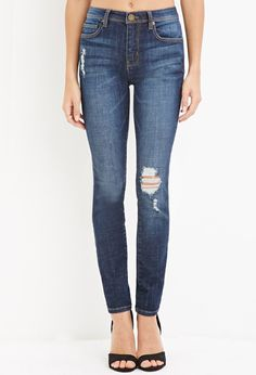 Contemporary Life in Progress Distressed Skinny Jeans | Forever 21 - 2000179424