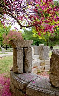ancient monuments in full spring, Olympia, Greece