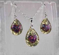 Gold Violet Heart Resin glitter earrings and Pendant Resin