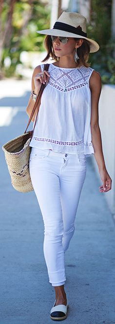 #Summer #Outfits / Sleeveless White Top + White Skinny Pants