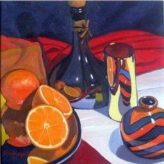 Frank COLCLOUGH - Olive Oil Bottle and Fruit
