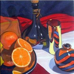Frank COLCLOUGH - Olive Oil Bottle and Fruit