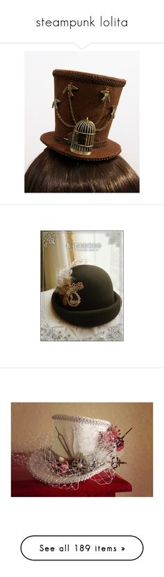 """""""steampunk lolita"""" by apeculiarpersonage ❤ liked on Polyvore featuring accessories, hats, steampunk, steampunk hat, steampunk top hat, mini top hat, mini hats, steam punk top hat, green hat and peacock hat"""